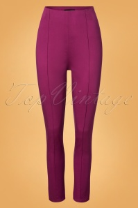 Collectif Clothing Bonnie Plain Trousers in Purple 24876 20180628 0004w