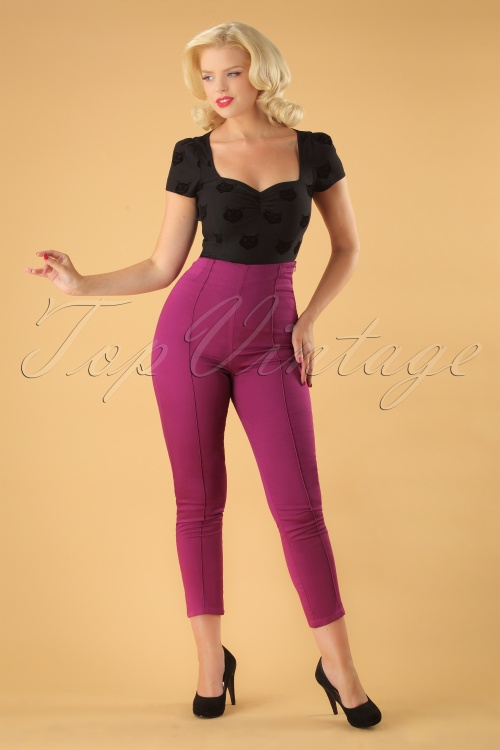 Collectif Clothing Bonnie Plain Trousers in purple 131 60 24876 20180703 0179