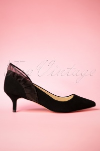 50s Aileen Suede Kitten Heel Pumps in Black