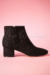 70s Glyn Mesh Lace Booties in Black