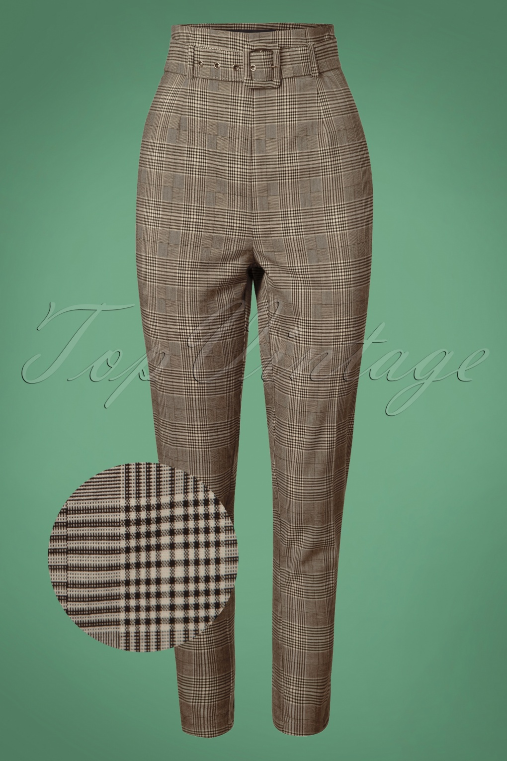 1950s Pants & Jeans- High Waist, Wide Leg, Capri, Pedal Pushers 50s Thea Check Trousers in Brown £44.92 AT vintagedancer.com
