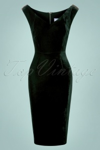 Collectif Clothing Velvet Green Pencil Dress 100 10 27507 20180628 0004W