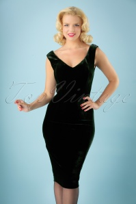 Collectif Clothing Velvet Green Pencil Dress 100 10 27507 20180628 0001W