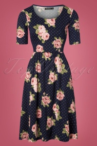 60s Natalie Polka Floral Dress in Navy
