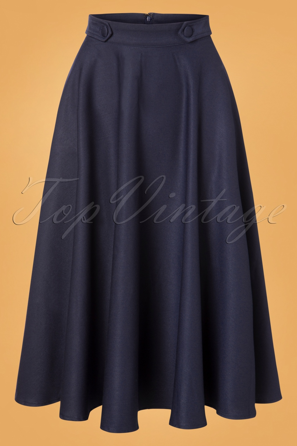 Retro Skirts: Vintage, Pencil, Circle, & Plus Sizes 50s Di Di Swing Skirt in Night Blue £36.50 AT vintagedancer.com
