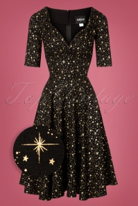 50s Trixie Atomic Star Doll Dress in Black