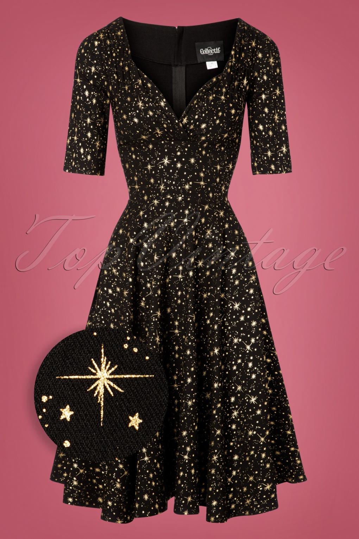 Vintage Cocktail Dresses, Party Dresses, Prom Dresses 50s Trixie Atomic Star Doll Dress in Black £59.91 AT vintagedancer.com