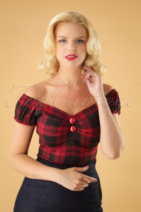 Collectif Clothing 50s Dolores Rebel Check Top in Black and Red