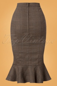 Collectif Clothing Brown 50s Winfred Pencil Skirt 120 79 24846 20180702 005W