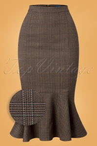 Winifred Librarian Check Fishtail Skirt Années 50 en Marron
