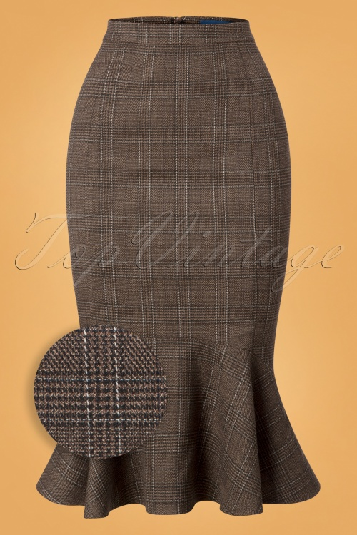 Collectif Clothing Brown 50s Winfred Pencil Skirt 120 79 24846 20180702 001Z