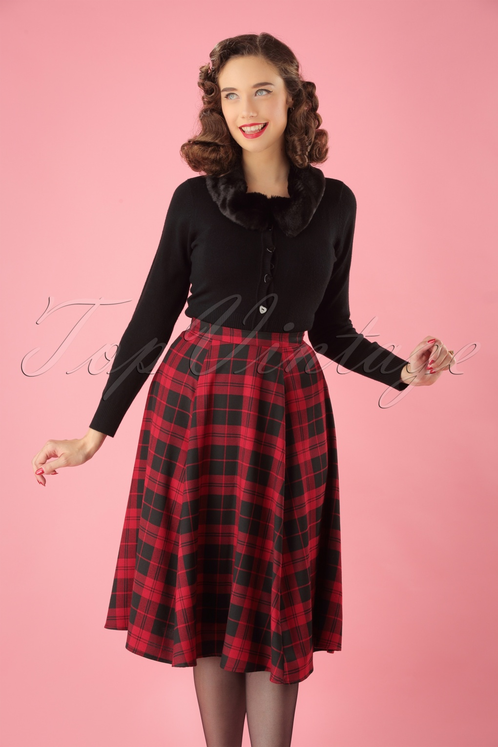 1950s Swing Skirt, Poodle Skirt, Pencil Skirts 50s Matilde Rebel Check Swing Skirt in Black and Red £43.48 AT vintagedancer.com