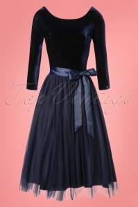 50s Amanda Party Swing Dress in Navy