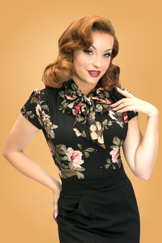 Estelle Blossom Blouse Années 40 en Noir