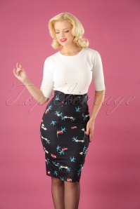 Collectif Clothing Black 50s Kayleigh pencil Skirt 120 14 24844 20180702 00W