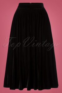 Collectif Clothing Black 50s Jasmine Velvet Swing Skirt 122 10 24840 20180625 003W