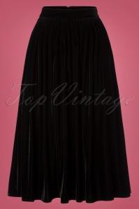 Collectif Clothing Black 50s Jasmine Velvet Swing Skirt 122 10 24840 20180625 003W