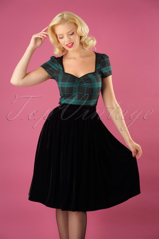 Authentic Natural 1950s Makeup History and Tutorial 50s Jasmine Velvet Swing Skirt in Black £46.09 AT vintagedancer.com