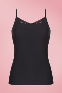Secrets Spaghetti Lace Top in Black