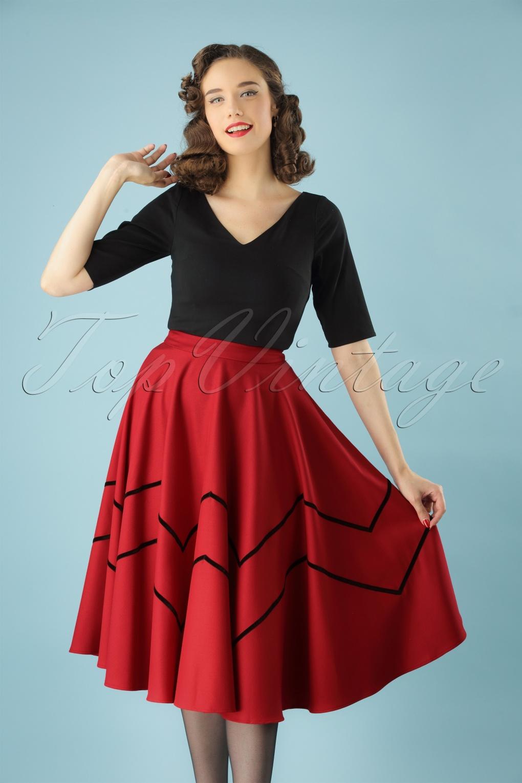 60s Skirts | 70s Hippie Skirts, Jumper Dresses 50s Milla Swing Skirt in Red £65.25 AT vintagedancer.com