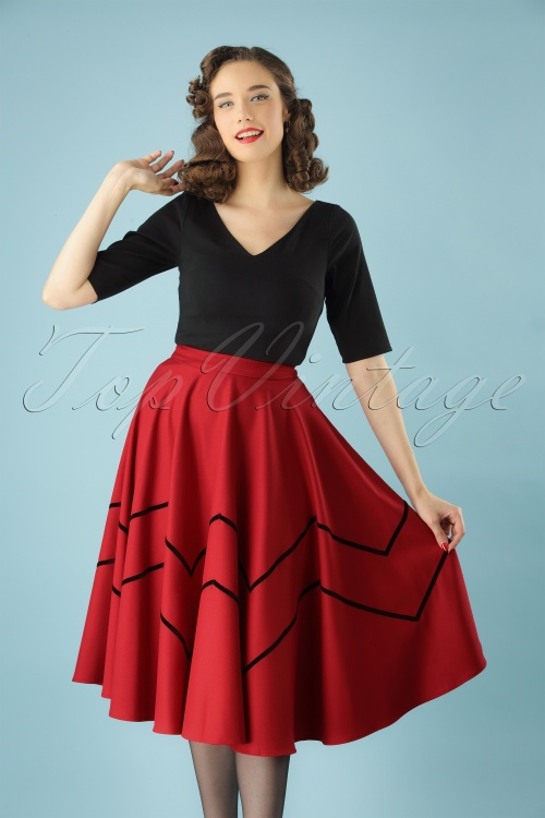 Collectif Clothing Red Milla Swing Skirt 122 20 24833 20180702 008W