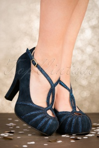 50s Angie Less Bitter More Glitter Suede Pumps in Night Blue