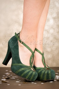 TopVintage Boutique Collection 50s Angie Less Bitter More Glitter Suede Pumps in Green