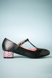 60s Chrissie Glitter Block Heel T-Strap Pumps in Black