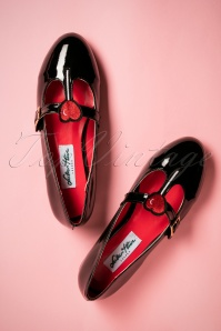 50s Lalla Patent Flats in Black