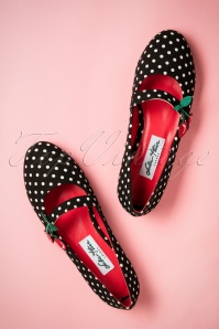 50s Sally Cherry Polka Flats in Black