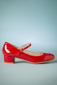 60s Mary Jane Patent Block Heel Pumps in Red