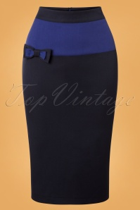 50s Colour Block Pencil Skirt in Blue