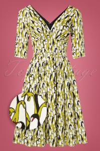 TopVintage Exclusive ~ 50s Frida Penguin Swing Dress in Off White
