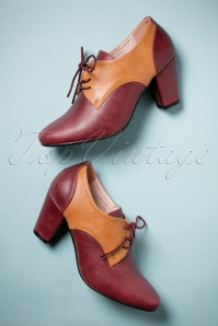 40s Vera Shoe Booties in Burgundy and Brown