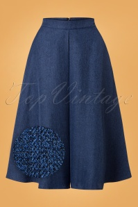 Banned Secretary Flare Skirt in Steal Blue 26146 20180718 0003Z