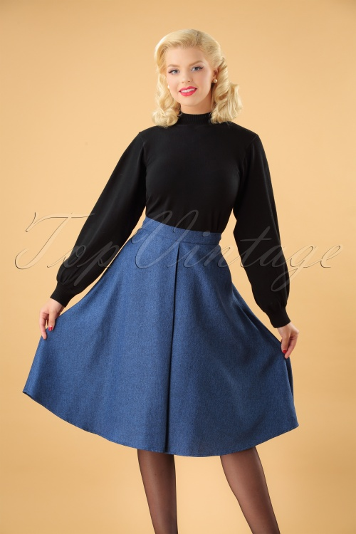 Banned Secretary Flare Skirt in Steal Blue 26146 20180718 000W