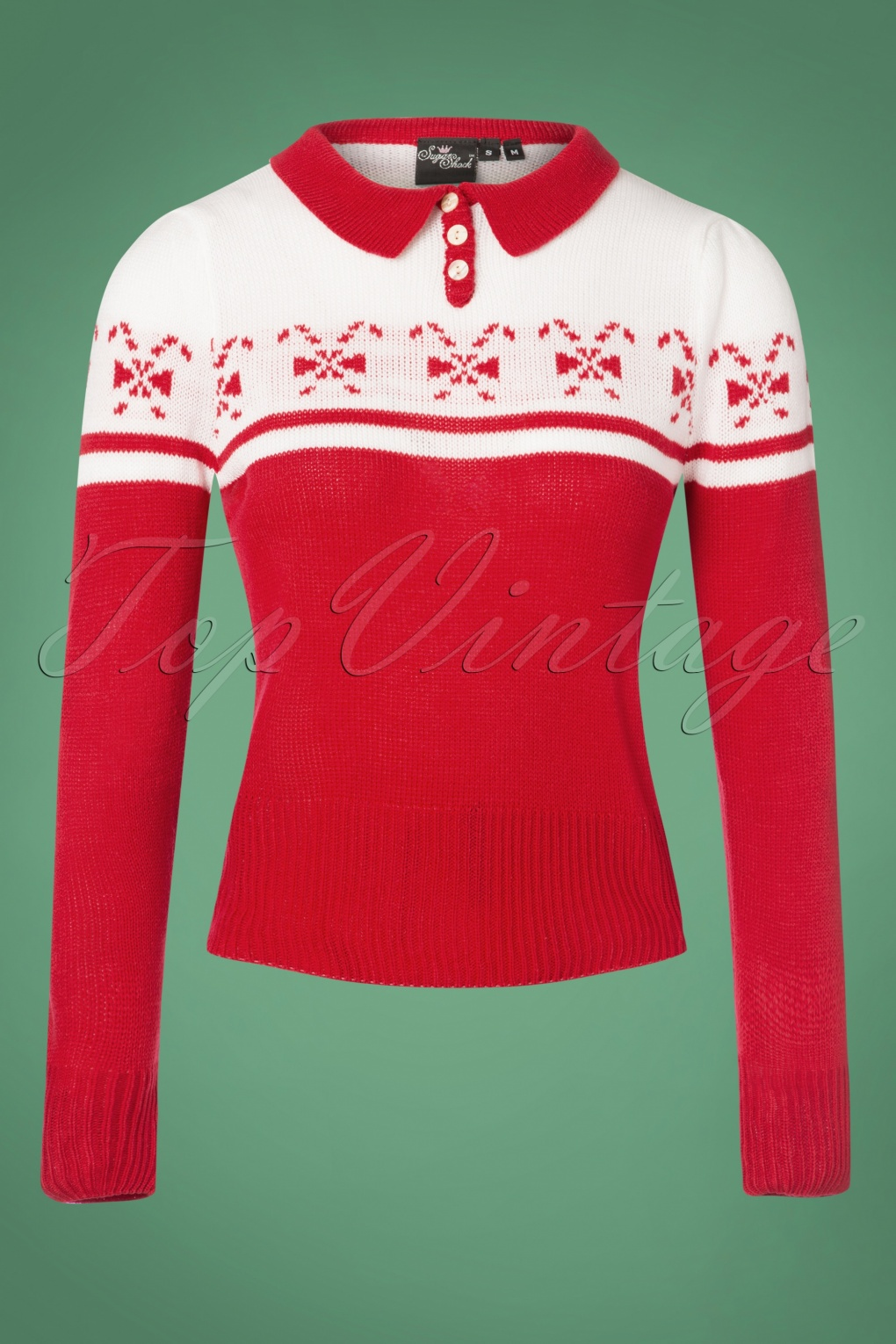 1940s Dresses and Clothing UK | 40s Shoes UK 40s Katika Candy Jumper in Red and White £33.74 AT vintagedancer.com