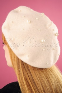 50s Pearl Wool Beret in Cream