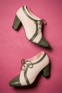 40s Amelia Shoe Booties in Green and Ivory