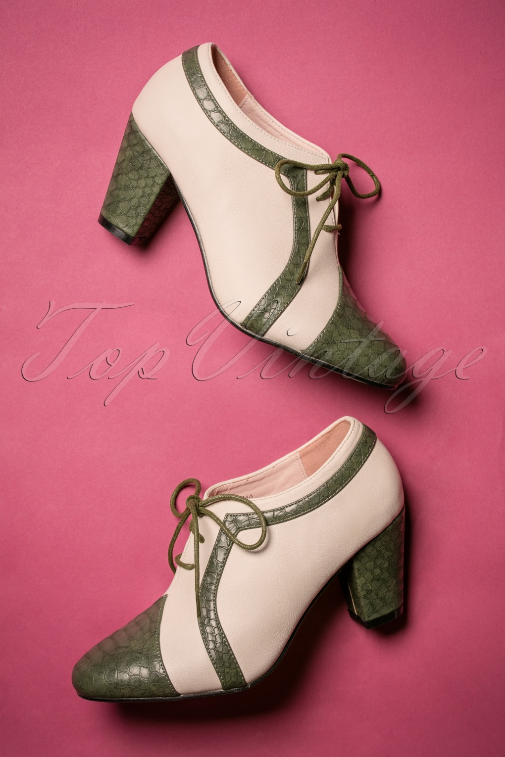 Pin Up Shoes- Heels, Pumps & Flats 40s Amelia Shoe Booties in Green and Ivory £47.18 AT vintagedancer.com