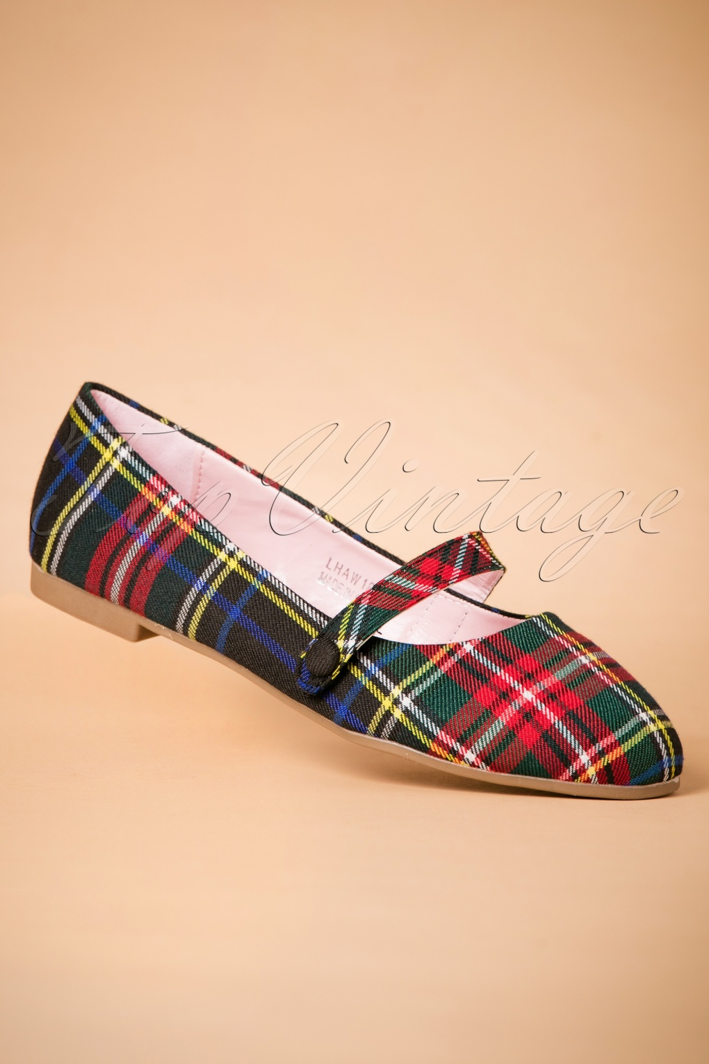 Retro Vintage Flats and Low Heel Shoes 50s Sally Flats in Tartan £34.98 AT vintagedancer.com