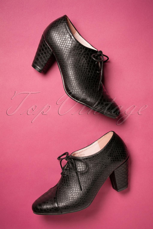 Vintage Style Shoes, Vintage Inspired Shoes 40s Amelia Shoe Booties in Black £46.69 AT vintagedancer.com