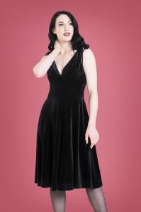 50s Melina Velvet Swing Dress in Black