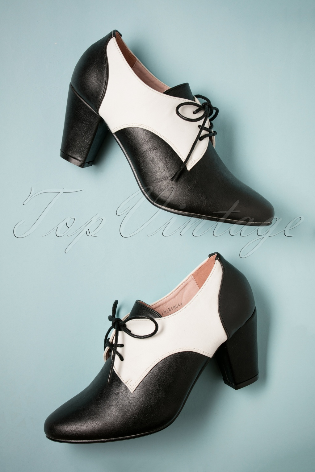 1950s Style Shoes | Heels, Flats, Saddle Shoes 40s Vera Shoe Booties in Black and Ivory £46.69 AT vintagedancer.com