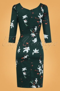 Hearts And Roses Green Floral Pencil Dress 100 49 26960 002W