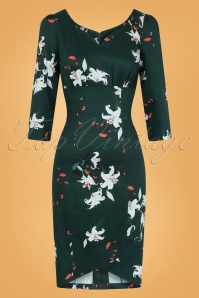 50s Dorothy Lily Flower Wiggle Dress in Green