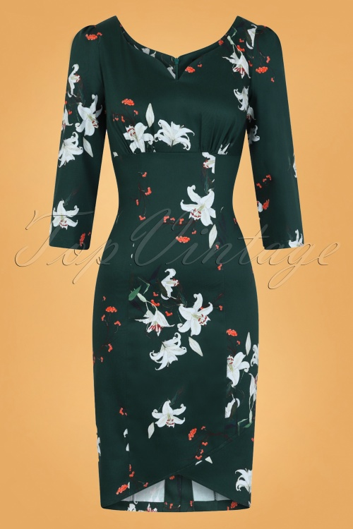 Hearts And Roses Green Floral Pencil Dress 100 49 26960 001W