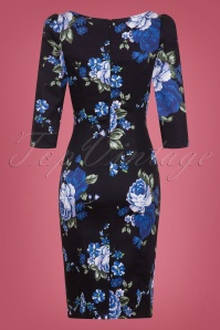 Hearts And Roses Black And Blue Floral Pencil Dress 100 14 26961 02W