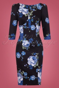 Hearts And Roses Black And Blue Floral Pencil Dress 100 14 26961 01W