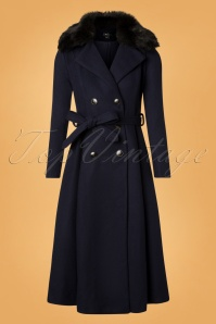 70s Caron Coat in Navy